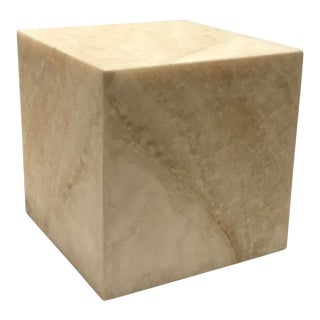 Contemporary Beige Stone Cube Pedestal For Sale
