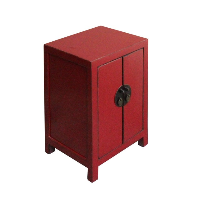 Chinese Red Lacquer Moonface End Table Nightstand For Sale - Image 4 of 8
