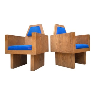 Frank Lloyd Wright Style Plywood Church Chairs - a Pair For Sale
