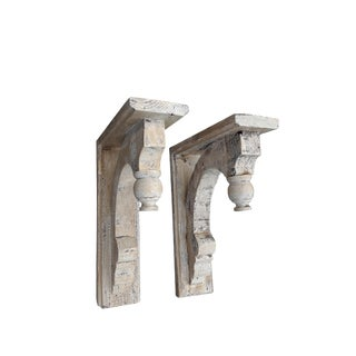 Pair Rustic Farmhouse Shabby Washed Corbels Wall Brackets For Sale
