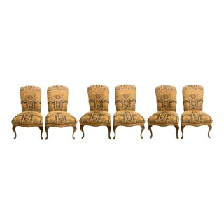 Set of Six Queen Anne High Back Dining Chairs For Sale