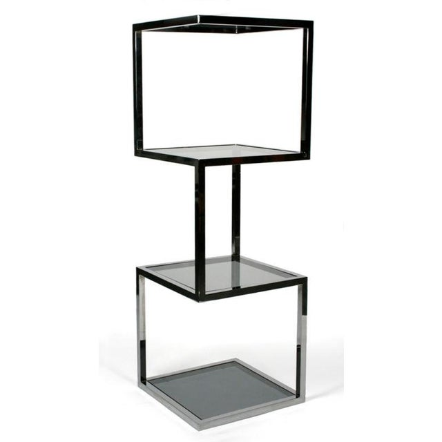 Asymmetrical Stacked Cubes Etagere after Milo Baughman - Set of 3 For Sale - Image 4 of 7