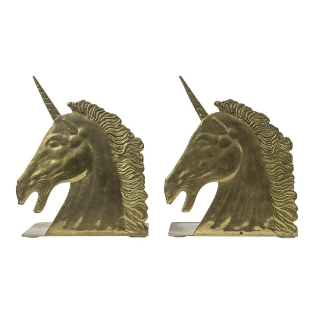 1970s Brass Unicorn Bookends - a Pair For Sale