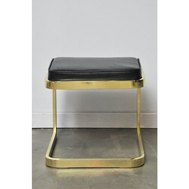Gold Brass and Leather Stools by DIA For Sale - Image 8 of 10