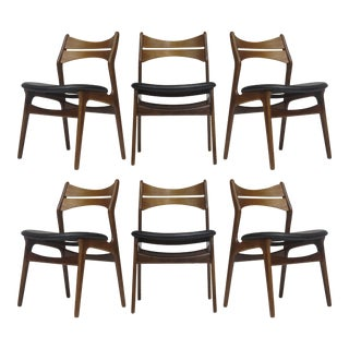 Set of 6 Erik Buck Teak Dining Chairs in Black Leather For Sale
