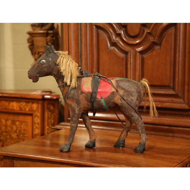 19th Century French Leather Papier Mache and Horse Hair Painted Sculpture For Sale - Image 10 of 10