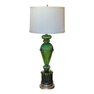 Mid Century Green Murano Venetian Art Glass Table Lamp For Sale