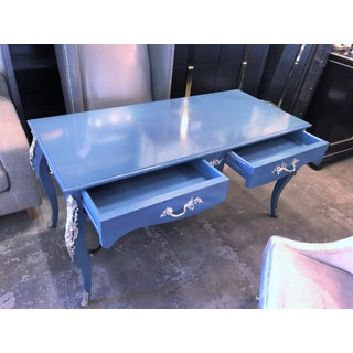 French Provincial Blue Writing Desk W/ Silver Accents Preview