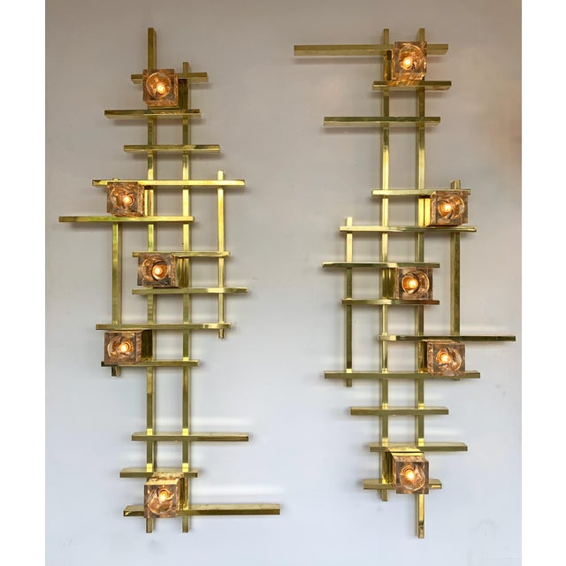 Contemporary Contemporary Brass Murano Glass Cubic Sconces. Italy For Sale - Image 3 of 11
