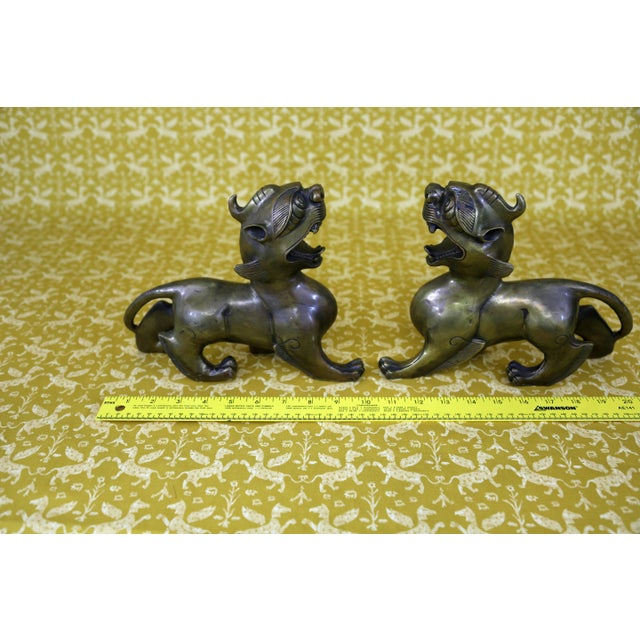 Vintage Brass Foo Dogs - A Pair - Image 8 of 9
