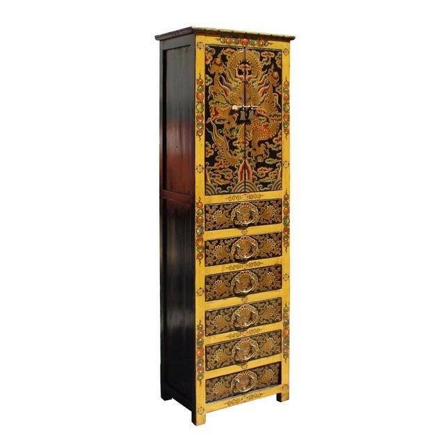 Chinese Tibetan Dragon Slim Multi Drawer Cabinet - Image 2 of 6