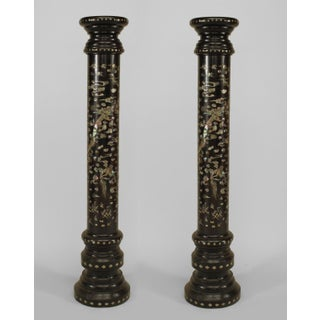 Pair of Asian Chinese Style Ebonized Wood Round 3 Section Pedestals