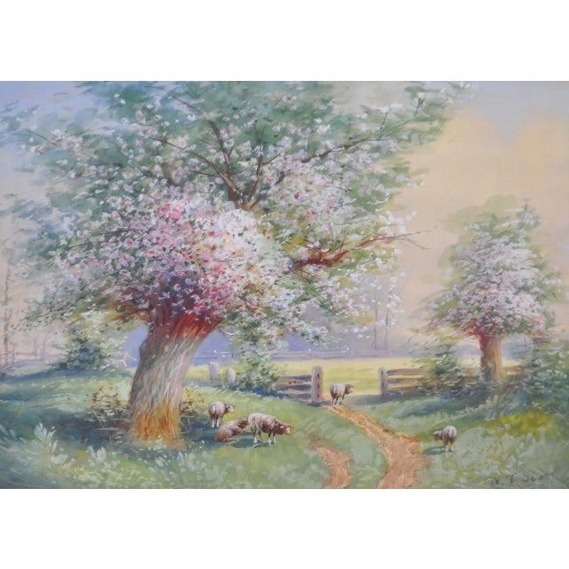Farmhouse 1940s Flowering Country Landscape Watercolor by W.T. Scott For Sale - Image 3 of 5