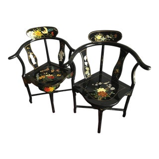 1970s Asian Black Lacquered Corner Chairs - a Pair For Sale