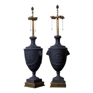 Adams Style Black Wedgewood Urn Lamps- 2 Pc