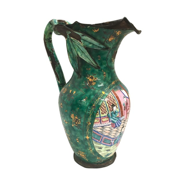 Asian Enamel on Copper Pitcher For Sale
