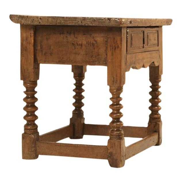 Antique Spanish Walnut End or Side Table For Sale