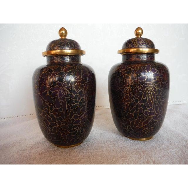 Purple & Gold Cloisonné Ginger Jars - a Pair - Image 2 of 7