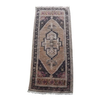 Turkish Antique Small Handmade Traditional Door Mat Small Rug 1′8″ × 3′8″ For Sale