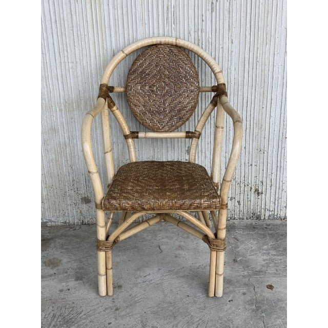 1960s Pair of Spanish Bamboo Armchairs With Ovaled Back Rest For Sale - Image 9 of 10