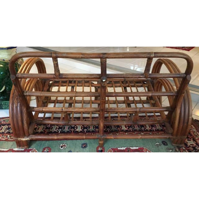 Vintage Mid Century Rattan Set Chairs & Loveseat For Sale In Tampa - Image 6 of 13