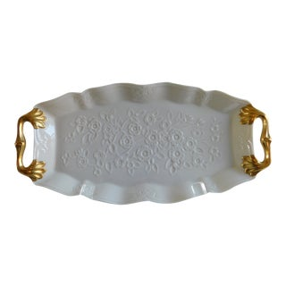 Beautiful Cream and Gold Leaf Vintage Lenox Dresser Tray