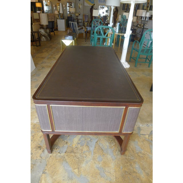 Restored Expansive Modern French Art Deco Executive Desk - Image 10 of 13