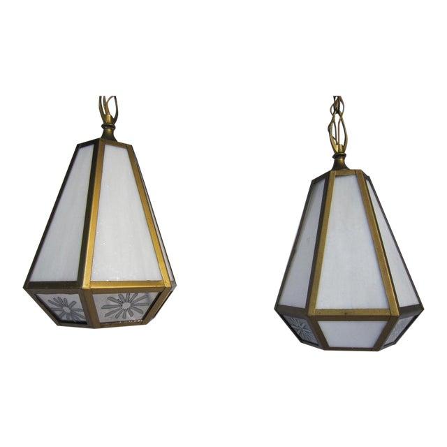 Mid Century Pendant Lights - Pair - Image 1 of 6