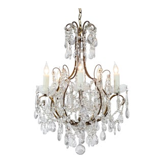 Italian Vintage Gilt Iron and Crystal Five Light Chandelier For Sale
