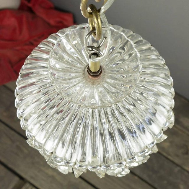 1940s French Crystal and Glass Pendant Ceiling Fixture - Image 9 of 11