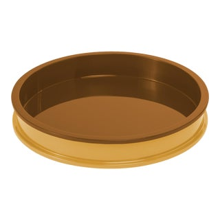 Small Circular Tray in Mayan Gold / Saddle Tan - Jeffrey Bilhuber for The Lacquer Company For Sale