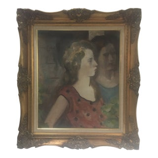 Maurice Becker Two Women Oil Painting For Sale
