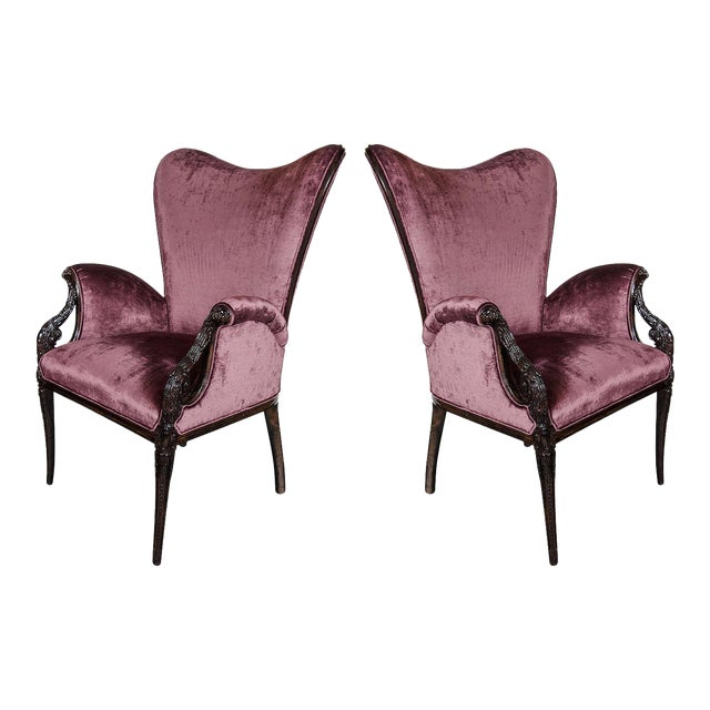 Elegant Pair of 1940s Butterfly Armchairs by Grosfeld House For Sale