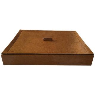 Italian Tan Hide Box by B. Home Interiors 'Giobagnara' For Sale