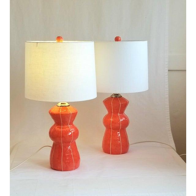 2020s Contemporary Kri Kri Studio Coral Red Ceramic Table Lamp For Sale - Image 5 of 5