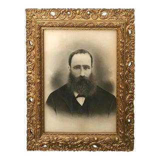 Gilt Frame Antique Charcoal Portrait