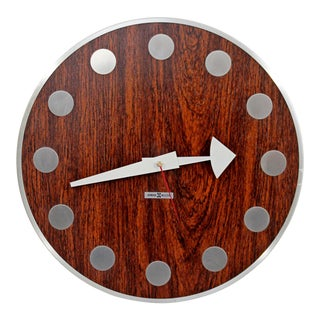 Mid Century Modern Arthur Umanoff Howard Miller Rosewood Chrome Wall Clock For Sale