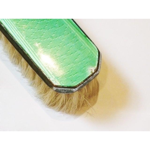 Art Deco Green Enamel Vanity Brushes - Set of 4 - Image 4 of 5
