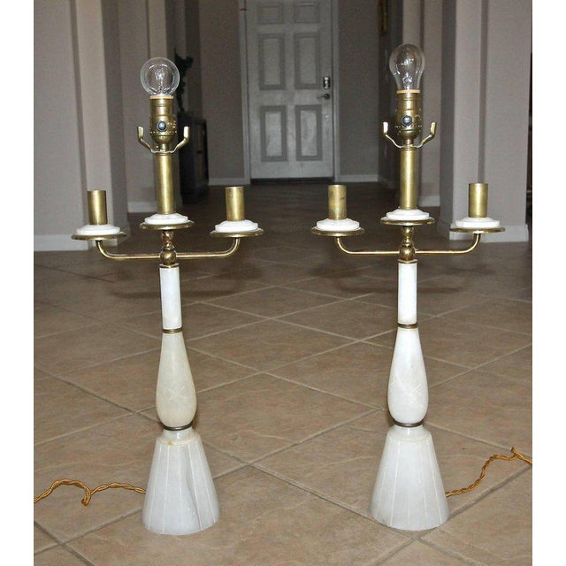 Mid-Century Modern Italian Gio Ponti Style Alabaster Brass Lamps - a Pair For Sale - Image 3 of 13