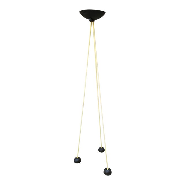 Vintage Post Modern Tripod Halogen Floor Lamp in the Style of Memphis by Koch and Lowy in Black and Yellow For Sale