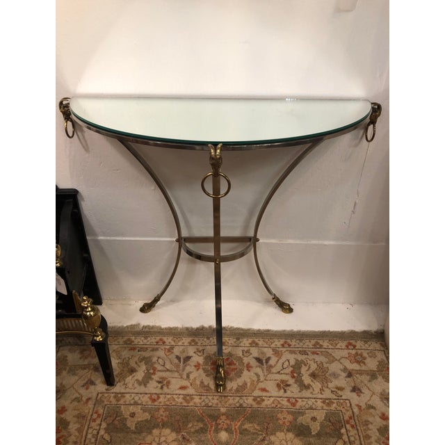 Polished Steel, Mirror and Brass Demi-Lune Form Console For Sale - Image 13 of 13