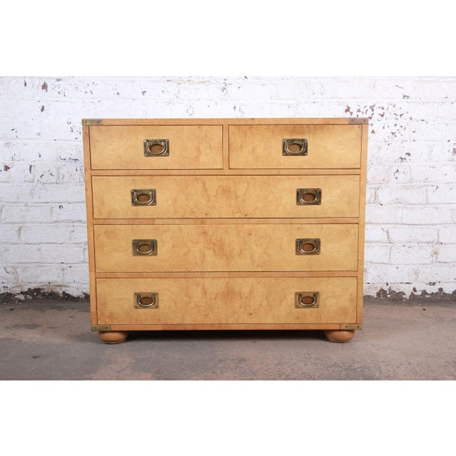Henredon Burl Wood Campaign Style Five-Drawer Dresser Chest For Sale - Image 12 of 12