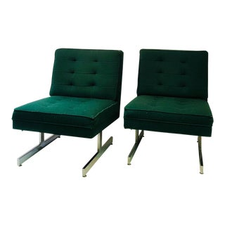 1970s Vintage Milo Baughman Style Unusual Design Chairs- A Pair For Sale