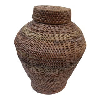 Woven Ethnic Lidded Basket For Sale