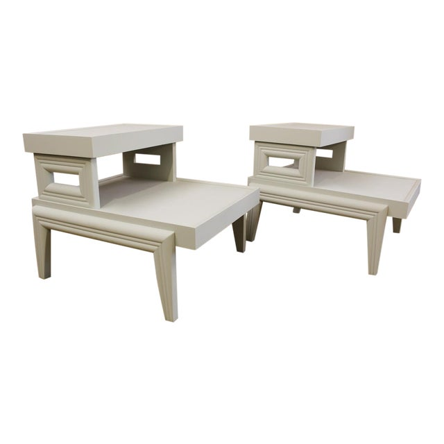 Mid-Century 1950s Step End Tables - A Pair - Image 1 of 9