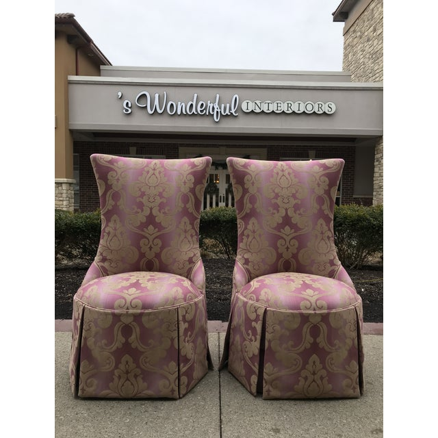 1940s Vintage Lee Jofa Host Dining Chairs Pink Ombre Damask - a Pair Grosfeld House Era For Sale - Image 12 of 12