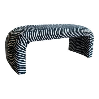 "Waterfall Art Deco Style Bench - ""Zebra Print"" For Sale"