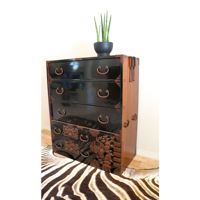 Vintage Black Lacquered Tansu Chest - Image 4 of 10