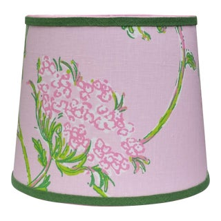 Lilly Pulitzer Fabric Pink, Green Tapered Drum Lampshade For Sale