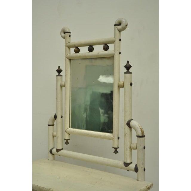 "Bentwood 30"" H Antique Arts & Crafts Salesman Sample Bentwood Painted Dresser & Mirror For Sale - Image 7 of 11"
